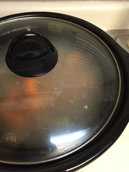 if you notice it boiling, turn it down to the warm option. allow the bone broth to simmer for 24 hours